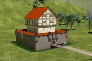 Die virtuelle Rekonstruktion zeigt, wie die kleine Niederungsburg einst ausgesehen haben könnte. - Bearbeitung: Thorsten Kroth