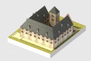virtuell rekonstruierte Ansicht des Schlosses von Südosten - © TBM - Timo Breidenbach Medienservice