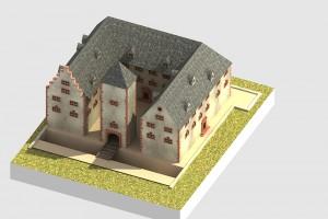 Blick von Westen auf die virtuell rekonstruierte Schlossanlage - © TBM - Timo Breidenbach Medienservice