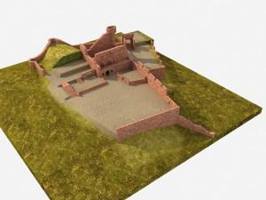 Der Burghof wird zu den Clingenburg-Festspielen für die Tribüne genutzt. Links des Palas befindet sich dann die Bühne. - Bearbeitung: Christian Westarp