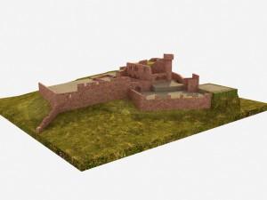 Die Clingenburg vom Maintal aus gesehen (Gaststätte Burgterrasse nur als Blockkörper dargestellt) - Bearbeitung: Christian Westarp