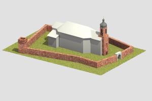 Blick von Süden mit der dort heute noch großteils erhaltenen Wehrmauer. - Bearbeitung: Christian Westarp