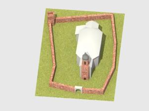 Die Wehrkirche aus der Vogelperspektive von Osten. Ein im Osten des Mauerberings gelegenes Tor ist heute leider nicht mehr rekonstruierbar. - Bearbeitung: Christian Westarp