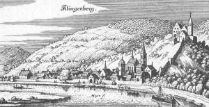 """Ansicht Klingenbergs in der """"Topographia Hassiae"""" des Matthäus Merian von 1655"""