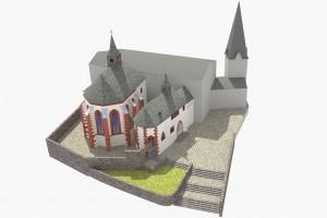 Die Kirchengruppe von Nordosten. Die modernen Gebäudeteile sind farblos gehalten. - © TBM - Timo Breidenbach Medienservice