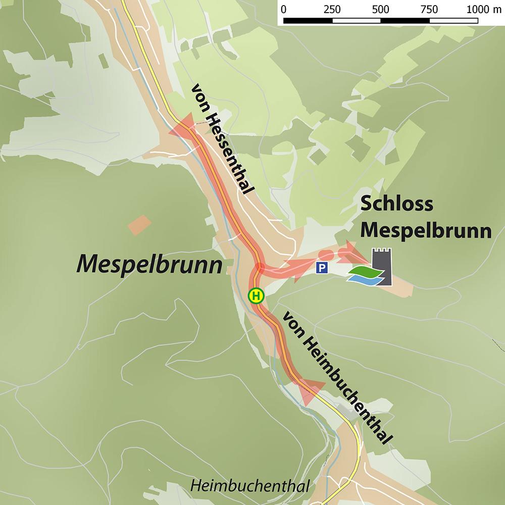 Anfahrtsskizzen_Schloss Mespelbrunn