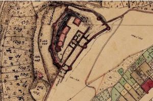 Die Henneburg in der bayerischen Uraufnahme (1. H. 19. Jhd.) - Quelle: Bayerische Vermessungsverwaltung