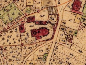 Auf der bayerischen Uraufnahme (1. H. 19. Jhd.) ist die ursprüngliche Form des Gebäudeensembles erkennbar. - Quelle: Bayerische Vermessungsverwaltung