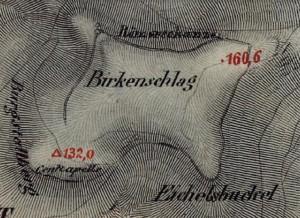 """In die bayerische Uraufnahme (1. H. 19. Jhd.) wurde der Ringwall als """"Römerschanze"""" eingetragen. - Quelle: Bayerische Vermessungsverwaltung"""