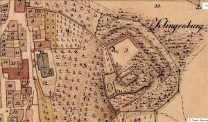 Die Clingenburg in der bayerischen Uraufnahme (1. H. 19. Jhd.) - Quelle: Bayerische Vermessungsverwaltung