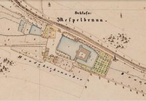 Schloss Mespelbrunn in der bayerischen Uraufnahme (1. H. 19. Jhd.) - Quelle: Bayerische Vermessungsverwaltung