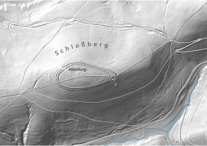 Der zweistufige Ringwall Altenburg im Geländemodell – Bearbeitung: Spessart-GIS/ASP, Datengrundlage: Bayerische Vermessungsverwaltung