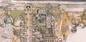 Die um 1200 entstandenen und bis zu 4 Meter hohen Szenen des Kreuzzugs Kaiser Friedrichs I. im Hauptsaal des Palas gelten als die ältesten weltlichen Wandmalereien nördlich der Alpen.