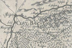 """Karte der """"Cent Bachgaw"""" 1695. Norden links. Bild: Geschichtsverein Bachgau."""