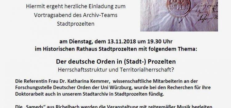 """Vortrag: """"Der Deutsche Orden in (Stadt-) Prozelten"""" in Stadtprozelten"""