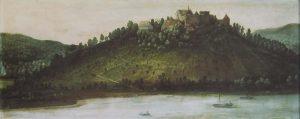 Das Ölgemälde von Philipp Helderhof, zu sehen im Heimatmuseum Neunkirchen, zeigt die Minneburg 1604 noch intakt auf dem großteils unbewaldeten Bergsporn. Foto: Heimat- und Museumsverein Neunkirchen e.V.