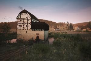 So oder so ähnlich wie in der Rekonstruktion könnte die Bacheburg an einem lauen Sommerabend um 1420 gewirkt haben. Bearbeiter: Archaeologica GmbH
