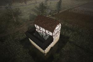 Höchstwahrscheinlich bestand sie aus einem Hauptgebäude mit einem schmalem Hof auf einer Seite. Bearbeitung: Archaeologica GmbH