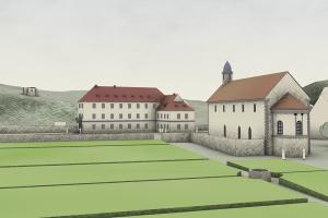 19. Jh.: Der Schlossgarten steht fast in direkter Tradition zum ehemaligen Klostergarten - auch räumlich. Blickrichtung: Westnordwest. Bearbeitung: Archimedix GmbH, Ober-Ramstadt
