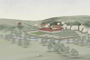 um 1200: Ein Dorf, zwei Kirchen - das Kloster im Tal und die Pfarrkirche mit Friedhof auf der Höhe. Blickrichtung: Nordwest. Bearbeitung: Archimedix GmbH, Ober-Ramstadt