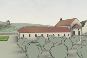 um 1200: Im direkten Umfeld des Klosters waren ganz sicher Gemüse-, Obst- und natürlich Kräutergärten angelegt. Blickrichtung: Westnordwest. Bearbeitung: Archimedix GmbH, Ober-Ramstadt