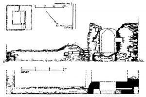 Dietrich Röders Aufnahme der 1955 vorhandenen Bausubstanz. Maßstab falsch. Quelle: Röder 1959