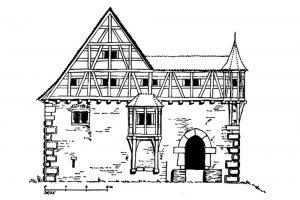 Dietrich Röders Rekonstruktion der Nordostseite. Maßstab falsch. Quelle: Röder 1959