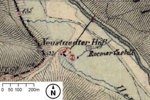 """""""RoemerCastell"""": Ausschnitt aus der topographischen Landesaufnahme 1844. Quelle: Bayerische Vermessungsverwaltung"""