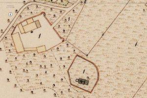 """""""Römerbau"""": Ausschnitt aus der Parzellenkarte der Bayerischen Uraufnahme 1844. Quelle: Bayerische Vermessungsverwaltung"""