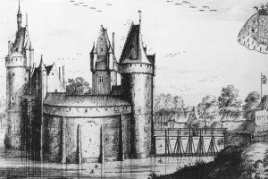 Zugang über Holzbrücke: die Burg Beersel (Belgien), Stich um 1690. Quelle: Wikimedia Commons