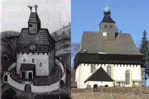 Die Wehrkirche von Großrückerswalde: links Darstellung 1583, rechts aktuelle Aufnahme. Quelle: Wikimedia Commons