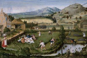Der Juni. Ausschnitt aus dem Monatsbild von Hans Wertinger 1516/25. Germanisches Nationalmuseum Inv.-Nr. Gm1130. Quelle: http://objektkatalog.gnm.de/objekt/Gm1130