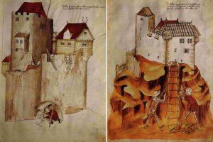 Hölzerne Wehrelemente, auch in Blockbauweise, waren nichts Ungewöhnliches.: zwei Darstellungen aus dem Kriegsbuch des Johannes Hartlieb, vmtl. für König Albrecht II., um 1430. Quelle: Schmidtchen 2001