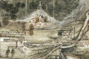 """""""Schloß Neüstatt"""" und Umgebung auf einer Karte des frühen 18. Jhds. Karte gedreht, Norden unten. Quelle: Hartmann 1986"""