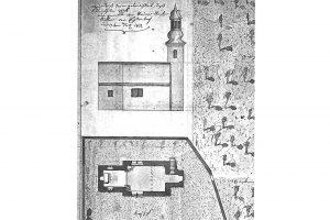 Grundriss und Ansicht der Kirche des Neustädterhofs 1812. Norden oben links. Quelle: Hartmann 2017