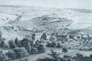 Ehemalige Klosterkirche, Schloss und Arcoplatz in einem Aquarell vom Meister Eckert um 1860. Blickrichtung Nordwesten. Quelle: Gemeinde Billigheim