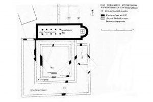Der Plan zeigt die bei der Ausgrabung 1971 freigelegten Pfeilerfundamente der Nonnenempore sowie die Mauern des Kreuzgangs und weiterer Klostergebäude. Quelle: Lutz (1975) S. 74, Abb. 11