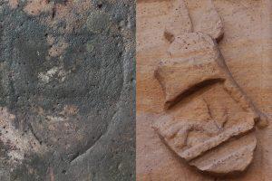 Gegenüberstellung des Wappens auf der Grabplatte (links) und eines bekannten Bache-Wappens (rechts).