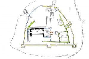 Bauphasenplan der Kollenburg: Schwarz: 2. Hälfte 13. / 14. Jh., Grün: 15. Jh., Blau: um 1500, Orange: um 1530, Gelb: um 1580-1610, Weiß: undatiert. Grundlage: Feulner 1913 S. 62 Fig. 35. Bearbeiter: G. U. Großmann.