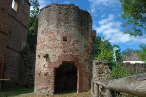 Der Eingang zum Treppenturm des Ostbaus besitzt ein Portal mit Schulterbogen. Foto: Burglandschaft
