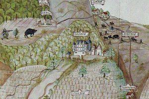 Darstellung der Kollenburg auf der Rüd von Collenbergischen Jagdgrenzkarte 1612. Quelle: Wackerfuß (1986) Taf. II