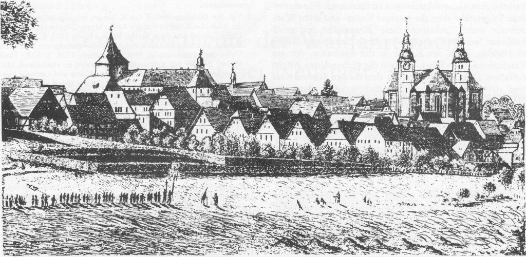 Eine Radierung von Sebastian Eckhardt (um 1820) zeigt einen Prozession von Wallfahrern vor der Kulisse von Walldürn.