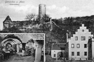 Diese Ansichtskarte von Gemünden um 1910 wirbt mit einer gepflegten Einkehr im Burgkeller. Repro: Bruno Schneider