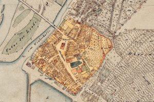 Die ursprünglich ummauerte Stadtfläche Gemündens, hervorgehoben auf dem Bayerische Urkatasterblatt um 1850. Geobasisinformation: Bayerische Vermessungsverwaltung