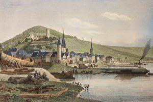 Stadtansicht Gemündens mit der Ruine der Scherenburg von der Saalespitze aus gesehen. Kolorierter Stahlstich, Carl Mayers Kunstanstalt Nürnberg, nach einer Zeichnung von Fritz Bamberger, um 1840