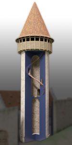 Schnitt durch den rekonstruierten Bergfried mit inwändiger Treppenhelix. Bearbeiter: Archimedix GmbH